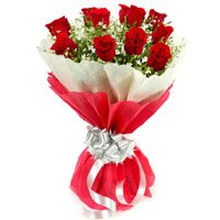 Flower Delivery in India. Send Red Roses Bouquet in Crepe 12 Flowers