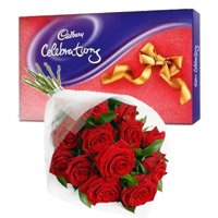 Send Cadbury Celebration Pack with 12 Red Roses Bunch Online Valentine Flowers to India