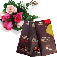Diwali Gifts to Vizag. Deliver 3 Bournville Chocolates With 6 Red Pink Roses to Vizag