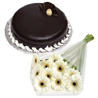 Father's Day Cakes to India - White Gerbera Chocolate Truffle Cake