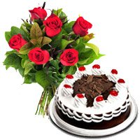 1/2 Kg Black Forest Cake with 6 Red Roses Bouquet delivery in India