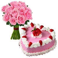 1 Kg Strawberry Cake 12 Pink Roses Bouquet Delivery in India