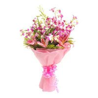 Send Pink Lily Purple Orchid Bouquet 12 Flowers in India