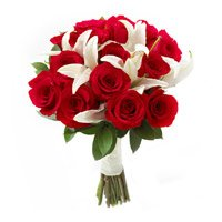 Online Bouquet Delivery in India of 2 White Lily and 10 Red Roses