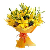 12 Yellow Lily Bouquet Delivery in India