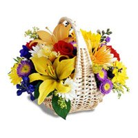 Online Delivery of Mix Flower Basket 18 Flowers to India
