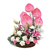 Deliver Mix Flower Basket 18 Flowers in India