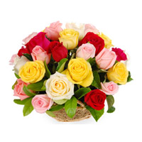 Send FLowers to India. A basket of 12 Mix color roses. Color include Pink, Red, White and Yellow