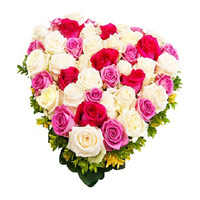 Heart Shape Arrangement of Mix Color Roses. Flower Arrangement of 50 Flowers to India