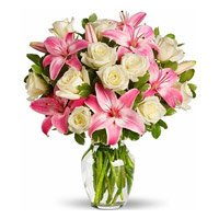 Send Pink Lily White Rose in Vase 15 Flowers to India
