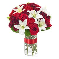 Valentine's Day Flower Delivery of White Lily Red Rose Carnation 24 Flowers in India