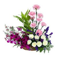 Send Orchids Carnations and Roses Arrangement 18 Flowers to India