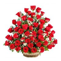 Valentine's Day Flowers to India. Order for Red Roses Basket 50 Flowers