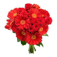 Bouquet of Red Gerbera and Roses. Send 24 Flowers to India