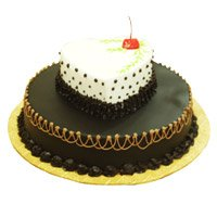 Cake Delivery in Ichalkaranji for 2-in-1 Heart Chocolate Vanilla Cake