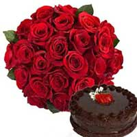 Send Cake and Flowers to India. Deliver 1/2 Kg Cake with 12 Red Roses Flowers to India
