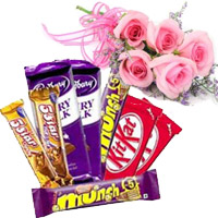 Send online Rakhi to India for Sister with Twin Five Star, Dairy Milk, Munch, Kitkat Chocolates with 5 Pink Roses