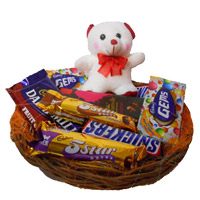 Basket of Exotic Chocolates and 6 Inch Teddy. Same Day Rakhi Gifts Delivery in India