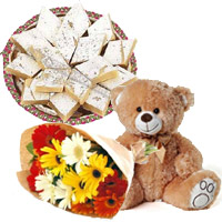 Send 1 Teddy Bear, 12 Gerbera Bouquet, 1/2 Kg Kaju Burfi Sweets. Rakhi Gift Delivery in India