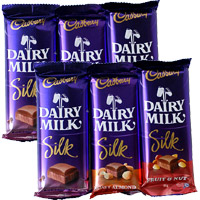 Place Order for Rakhi Gifts Delivery in India. 6 Cadbury Dairy Milk Silk Chocolate to Send Gift in India