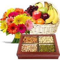 Best Gifts Delivery in India with 12 Mix Gerberas, 3 Kg Fresh Fruit Basket, 0.5 Kg Mixed Dry Fruits