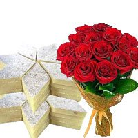 Send Bunch of 12 Red Roses with 0.5 Kg Kaju Barfi and Gifts