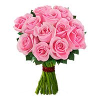Romantic Flowers to India. Place order to deliver Pink Roses Bouquet 12 Flowers in India