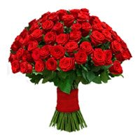 Valentine's Day Flower Delivery in India with 75 Red Rose Bouquet. Send Flowers to India