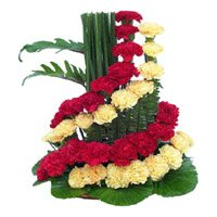 Red and Yellow Flowers to Durg, Basket of 50 Flowers to Durg