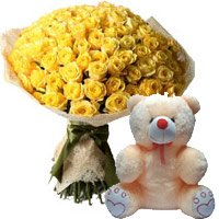 Teddy and Flowers to India