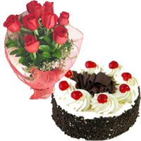 Send Flower to India. Online 1 Kg Black Forest Cake 12 Red Roses Bouquet in India