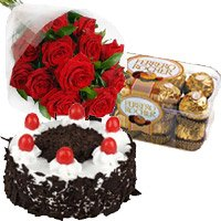 Send 12 Red Roses 1 Kg Cake and 16 pcs Ferrero Rocher Chocolates to India