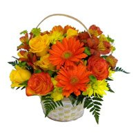 Valentine's Day Flowers to India. Online Delivery of 24 Gerbera and Roses in Basket