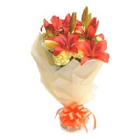Online Lily Carnation Flowers to India