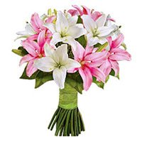 Mothers Day Flower Delivery in India :  Pink White Lily