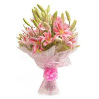 6 Pink Lily Bouquet Delivery in India