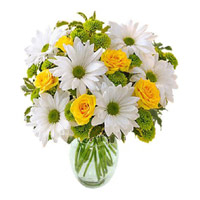 Exclusive Flowers to Dehradun,  White and Yellow Flowers in Vase