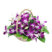 15 Purple Orchids in a Basket. Send Orchid Flowers to India