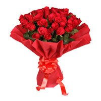 Send Valentine's Day Flowers to India. Red Rose Bouquet in Crepe with 50 Flowers to India