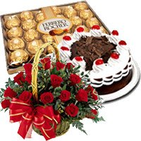 Send Flowers to India. 24 Red Roses Basket, 0.5 Kg Black Forest Cake, 24 pcs Ferrero Rocher Chocolate to India