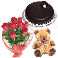 Online Flower Delivery in India. Bunch of 12 Red Roses, 1 kg Chocolate Truffle Cake, 9 inch Teddy with Flowers to India